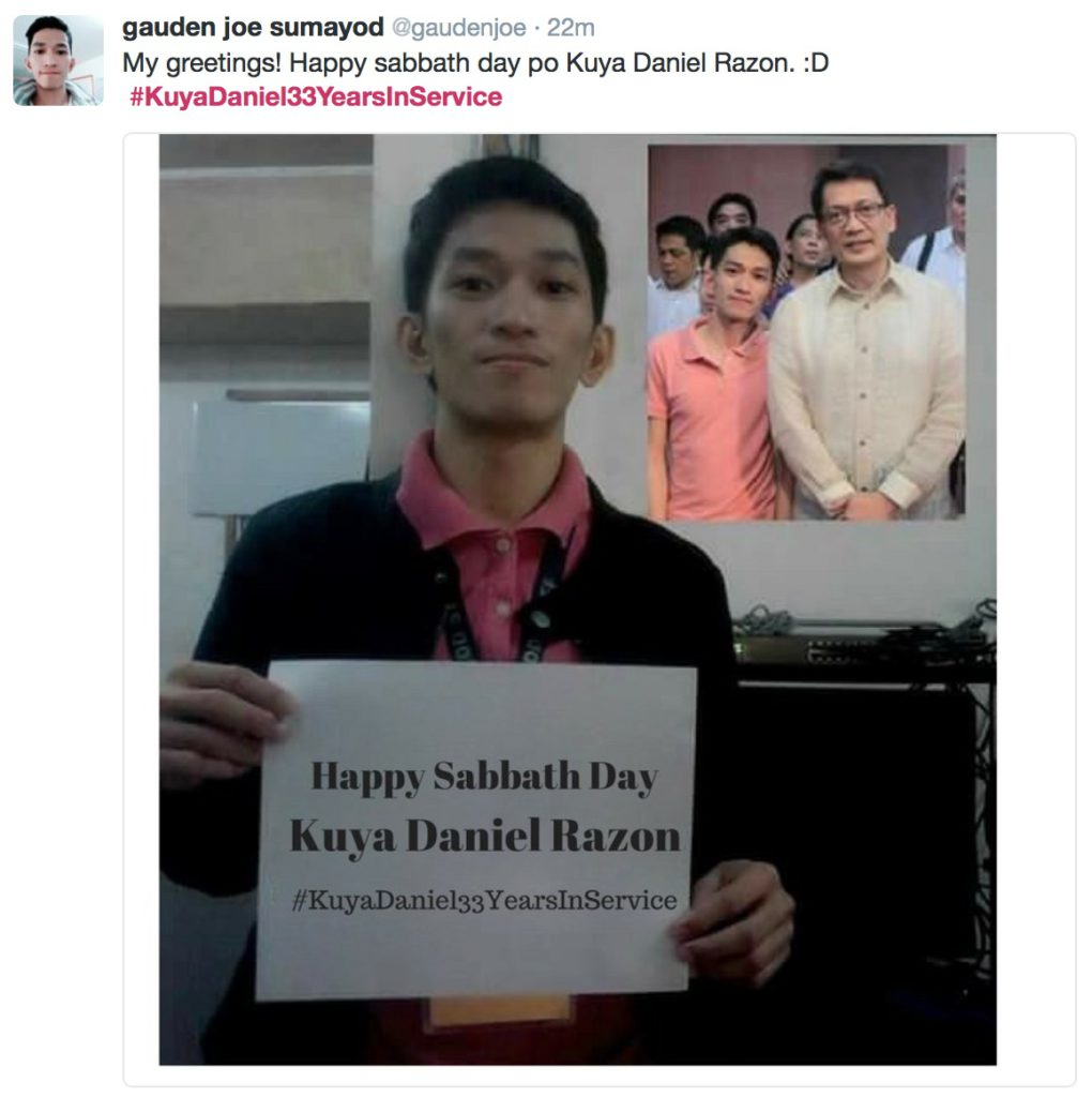 @Gaudenjoe fan signs his greetings and creatively inserting a snapshot of his and Kuya Daniel.